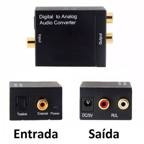 CONVERSOR OPTICO COAXIAL DIGITAL PARA SOM ANALOGICO SAIDA RCA