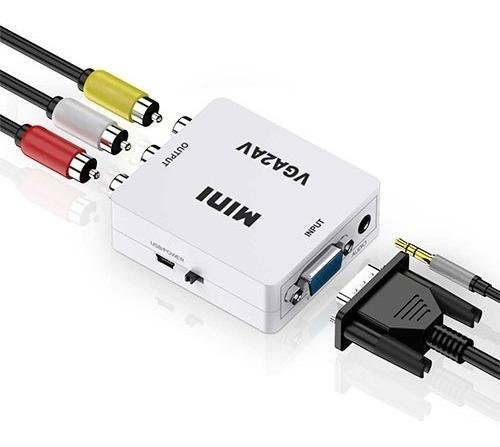 CONVERSOR VGA PARA AV RCA COM ALIMENTACAO USB 1080P BRANCO