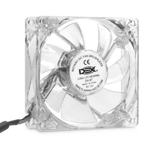Cooler Dex Transparente com Led Azul Dx-8T 80MM