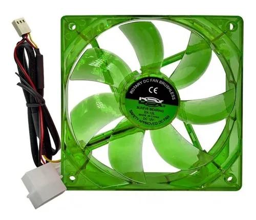 Cooler Fan Led Verde 12cm 120x120x25 120mm Green Led 2 Plugs