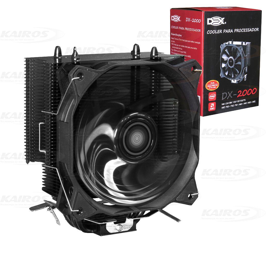 COOLER P/ PROCESSADOR INTEL / AMD C/ 1 FAN PRETO 120MM DEX - DX-2000