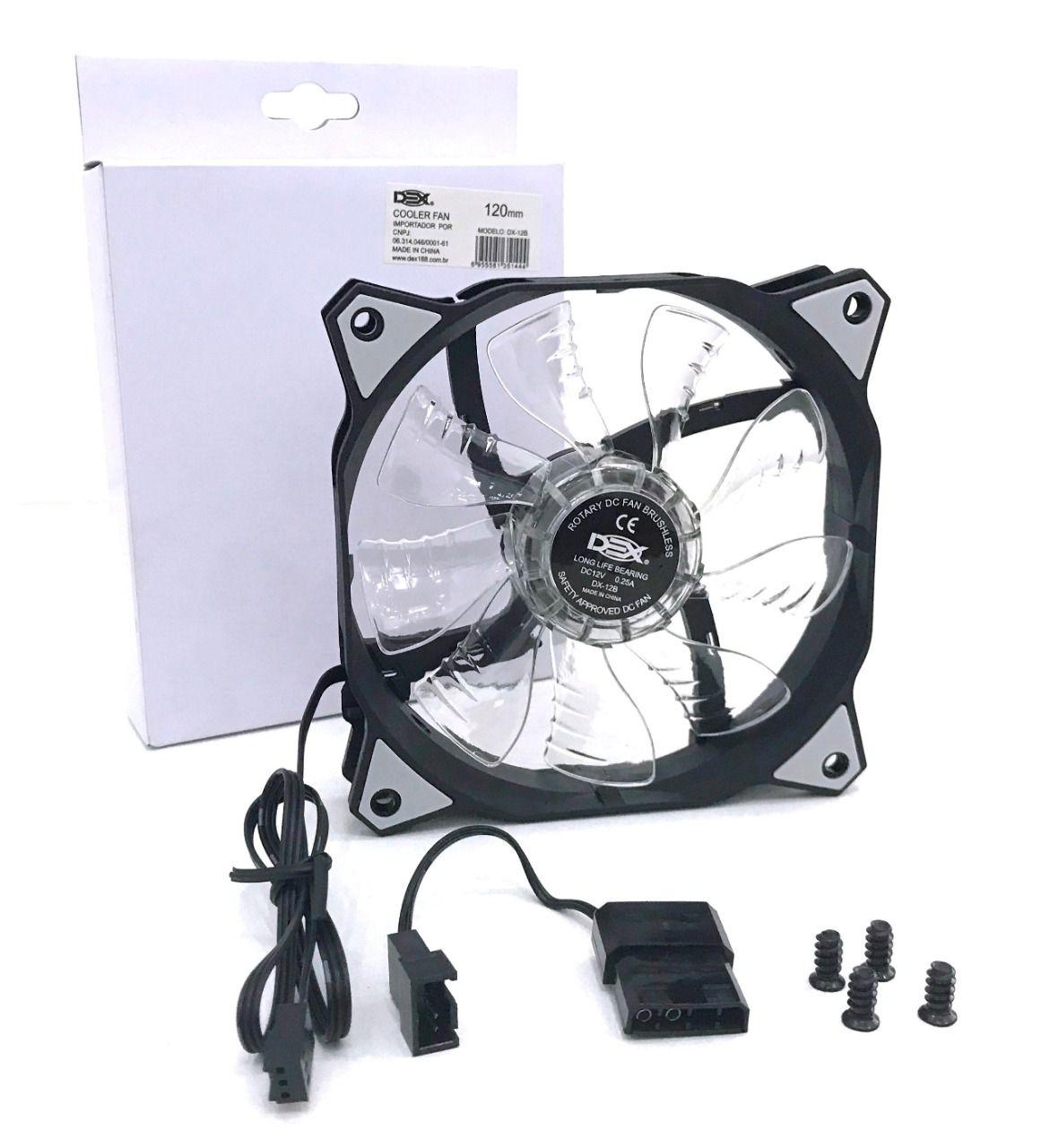 Cooler para gabinete 120mm Led branco DX-12B dex