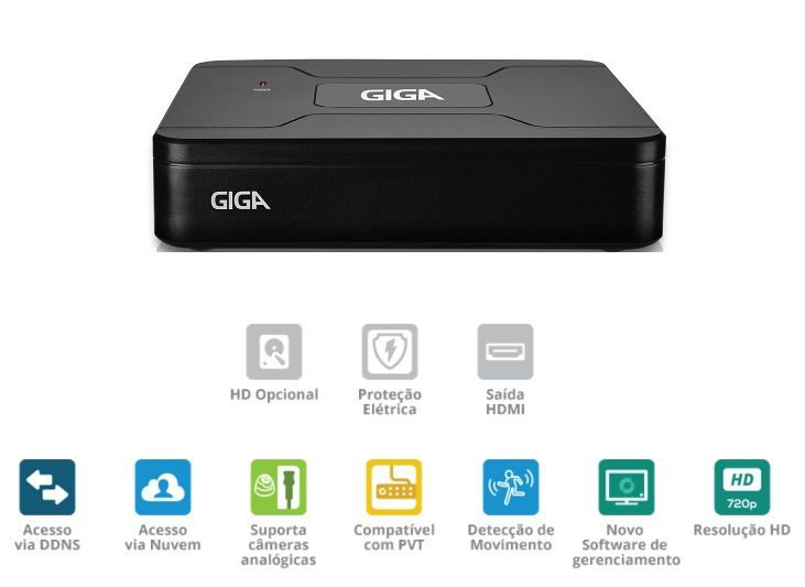 Dvr 4 Canais Lite 720p Open Hd 4 Em 1 Gs0082 - Giga Security