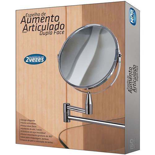 ESPELHO AUMENTO ARTICULADO DUPLA FACE MOR 8482