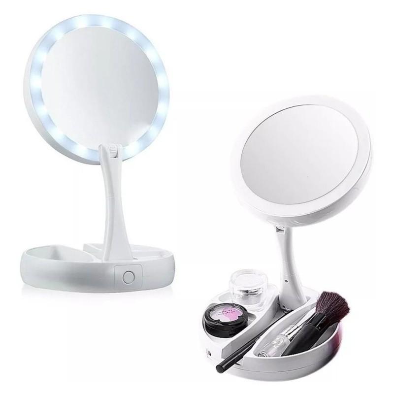 Espelho Luz Led Dobrável Aumenta 10x Maquiagem Portátil AH-001 Aiker 17 CM X 20CM