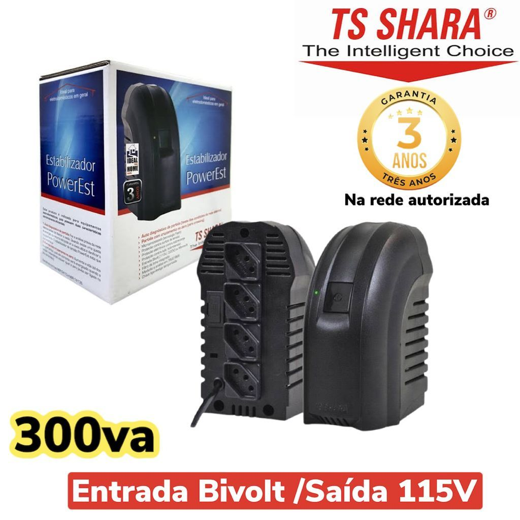 Estabilizador Ts Shara Powerest 300VA Bivolt 4 Tomadas Slim 9001