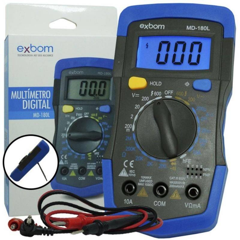 EXBOM MD-180L MULTIMETRO DIGITAL PORTATIL LCD DE 3 DIGITOS COM ILUMINACAO DE FUNDO