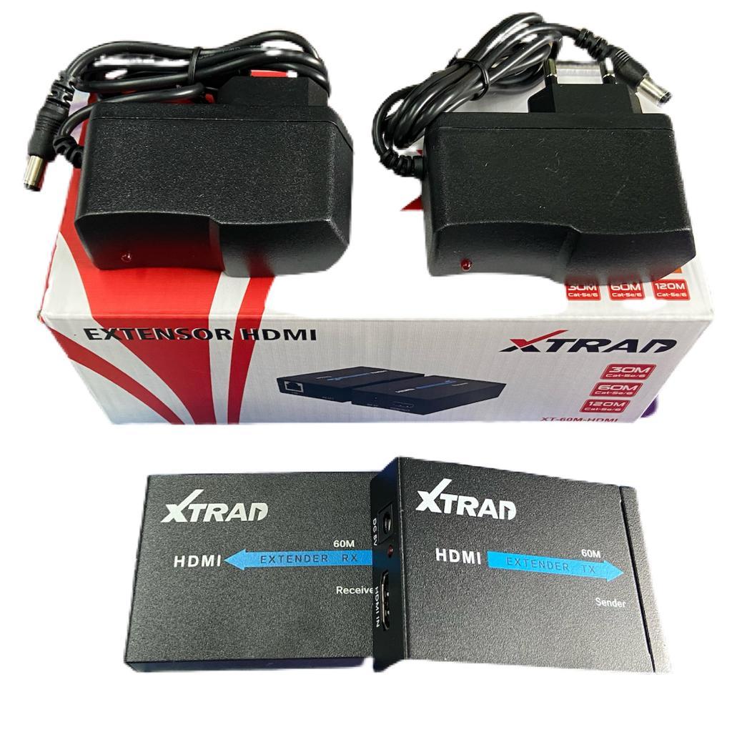 Extensor Hdmi 60 Metros X Rj45 Cat5/ Cat6 3d 1080p Bivolt 2 fontes Xtrad XT-60M XTRAD