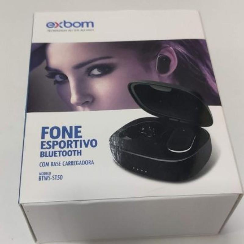 FONE DE OUVIDO BLUETOOTH PRETO TWS TOUCH INTRA-AURICULAR COM ESTOJO DE CARREGAMENTO EXBOM / BTWS-ST50