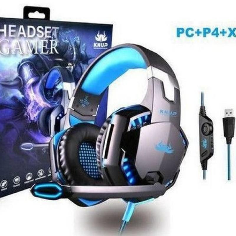 Fone De Ouvido Gamer Usb Pc Ps3 Ps4 Knup Kp-455a Azul