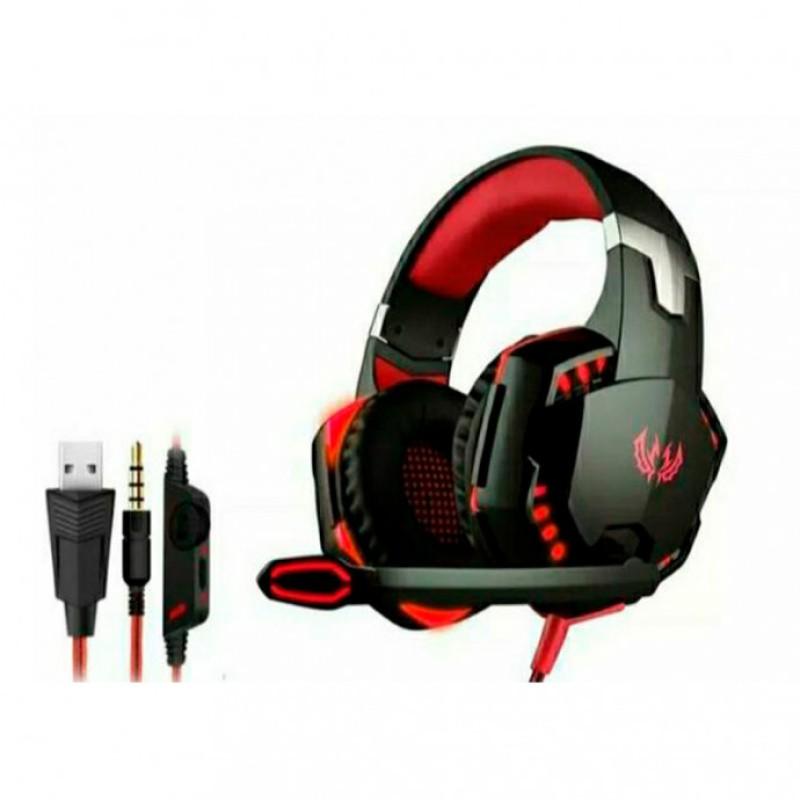 Fone De Ouvido Gamer Usb Pc Ps3 Ps4 Knup Kp-455a Vermelho