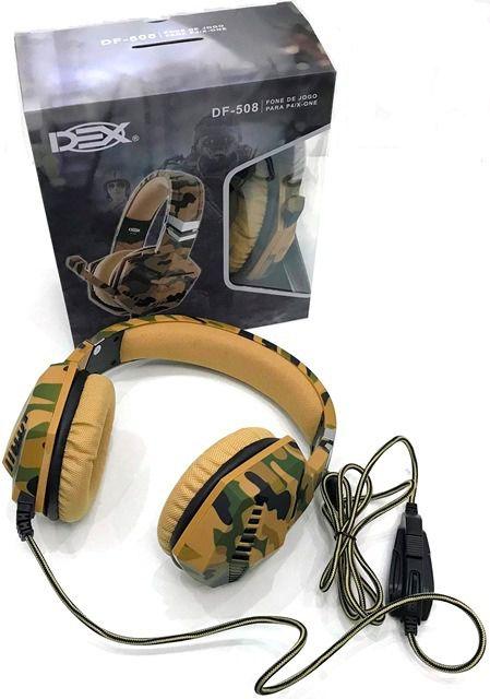 FONE DE OUVIDO HEADSET GAMER CAMUFLADO DEX DF-508 para P24 E XBOX ONE P3