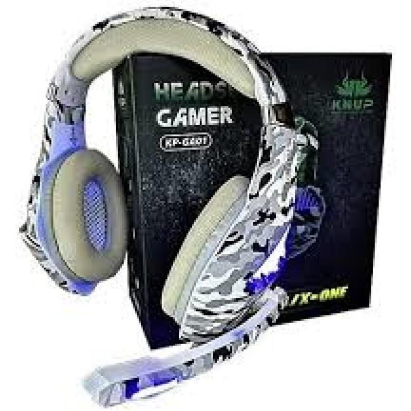 Fone De Ouvido Headset Gamer Pc Xbox One Ps4 Led KP-GA01 + Adaptador Cabo Nylon Trançado branco #MEGAPROMO
