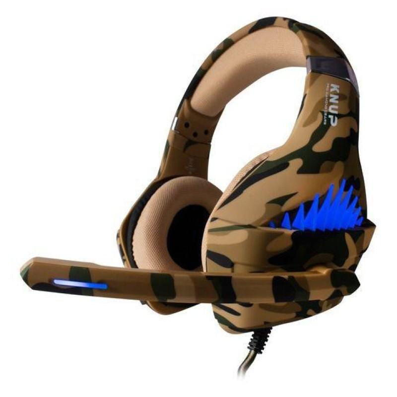 Fone De Ouvido Headset Gamer Pc Xbox One Ps4 Led KP-GA01 + Adaptador Cabo Nylon Trançado marrom #MEGAPROMO