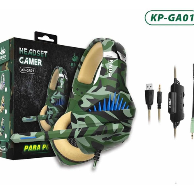 Fone De Ouvido Headset Gamer Pc Xbox One Ps4 Led KP-GA01 + Adaptador Cabo Nylon Trançado Verde