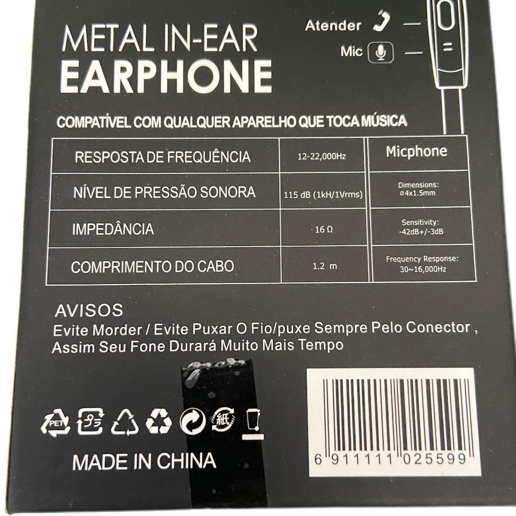 FONE DE OUVIDO SHINKA COM MICROFONE SMARTPHONE SH-004 BRANCO