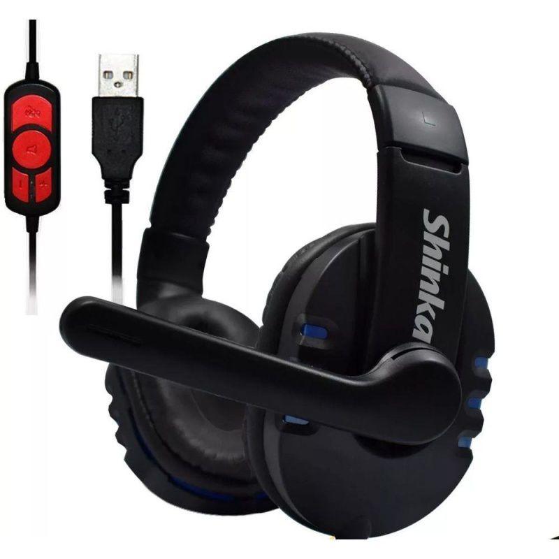 FONE DE OUVIDO USB Q7 2M SHINKA SH-Q7 HEADPHONE AZUL IDEAL HOME OFFICE