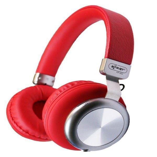 Fone De Ouvido Vermelho Bluetooth P2 Micro Sd Fm Knup Super Bass KP-452
