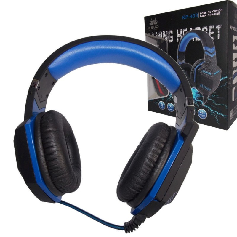 Fone Gamer Headset Azul Pc Ps4 Xbox One P2 Microfone Knup Kp-433