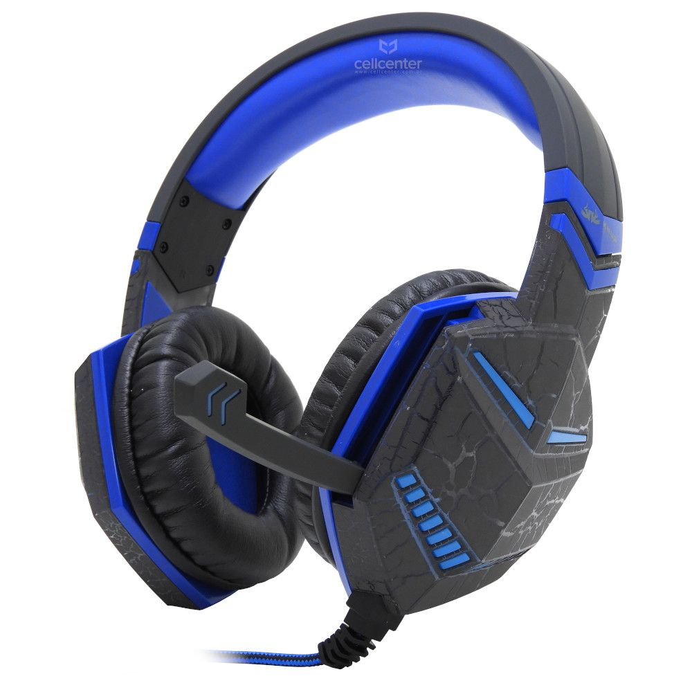 Fone Gamer Headset Azul Rajado Pc Ps4 Xbox One P2 Microfone Knup Kp-433