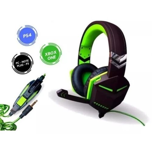 Fone Gamer Headset Verde Pc Ps4 Xbox One P2 Microfone Knup Kp-433