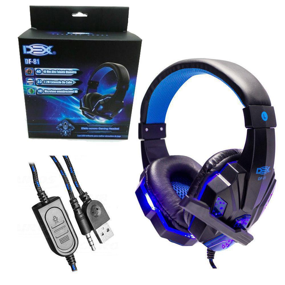 Fone Headset Gamer P2 C/led Azul Usb + Adaptador Y P3 Ps4/pc DF-81