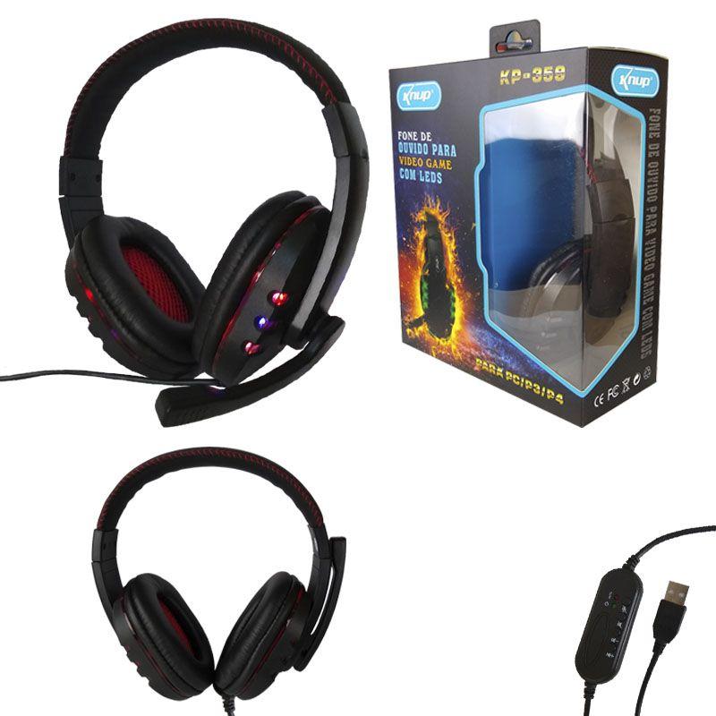 Fone Headset Gamer Usb Led Microfone Kp-359 Knup vermelho