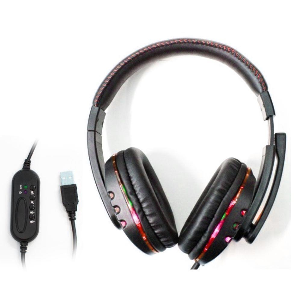 Fone Headset Gamer Usb Led Microfone Kp-359 Knup vermelho #MEGAPROMO