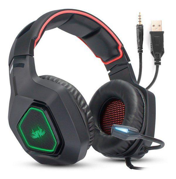 Fone Headset Gamer Vermelho 7.1 P2 Pc Ps4 Xbox One Celular Universal KP-488 Knup