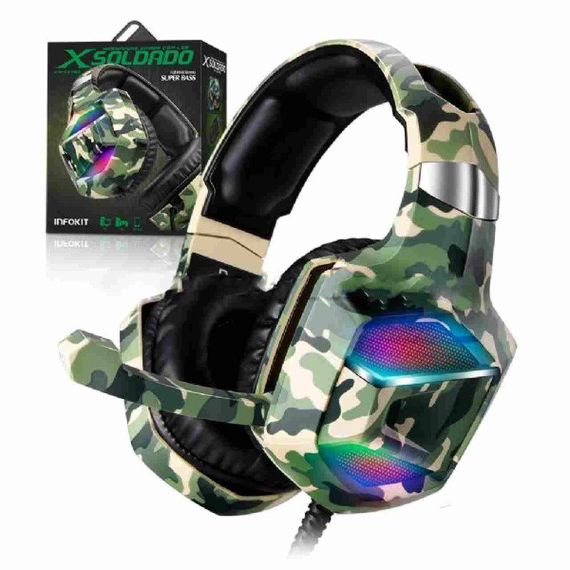 Fone Headset Gamer X-soldado Camuflado Gh-x2700 7.1 P/ Ps4 X-box One Pc Infokit  03476