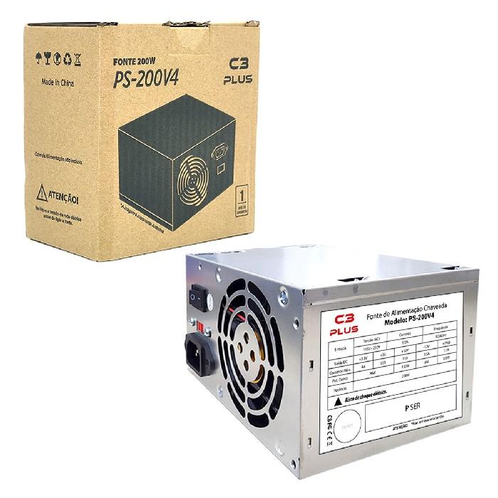 FONTE ALIM ATX 200W REAIS SATA PS-200V4 S/CABO C3 PLUS