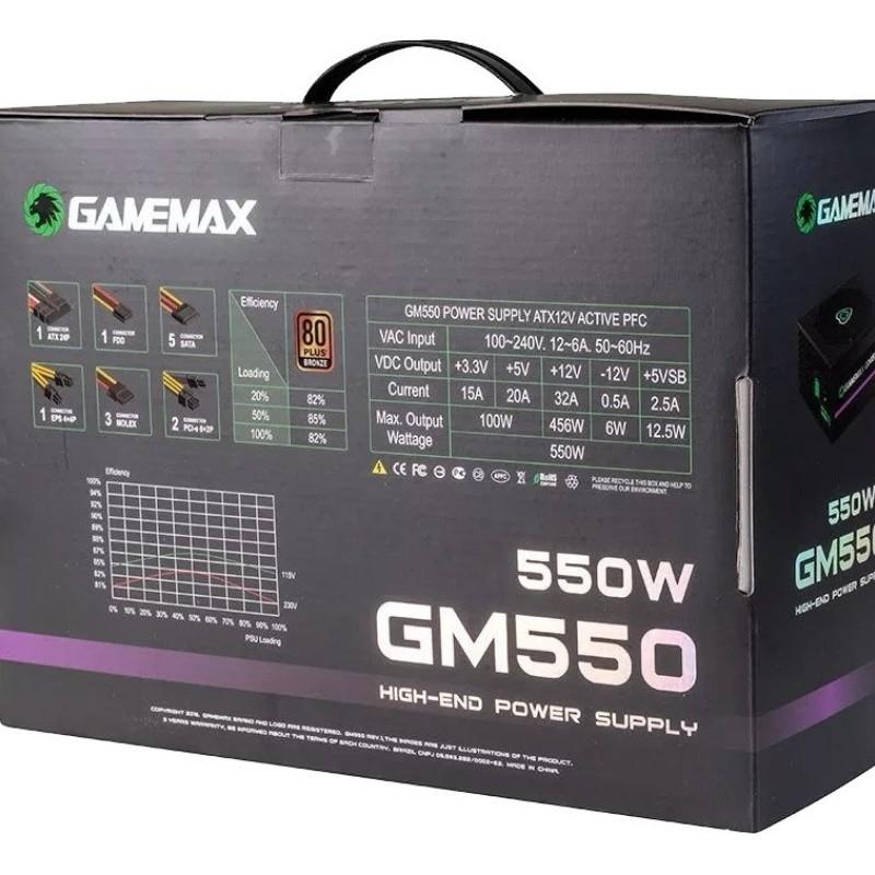 FONTE ATX 550W REAIS 80Plus BRONZE GM550 BOX GAMEMAX