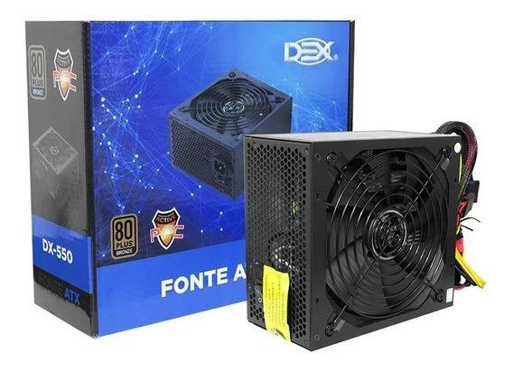 Fonte Atx 550w Reais Gamer Dex Dx-550 80 Plus Bronze