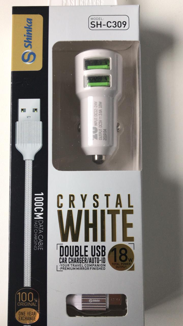 FONTE VEICULAR 2 USB 3.6A AUTO-ID + CABO V8 1M BRANCO SHINKA SH-309