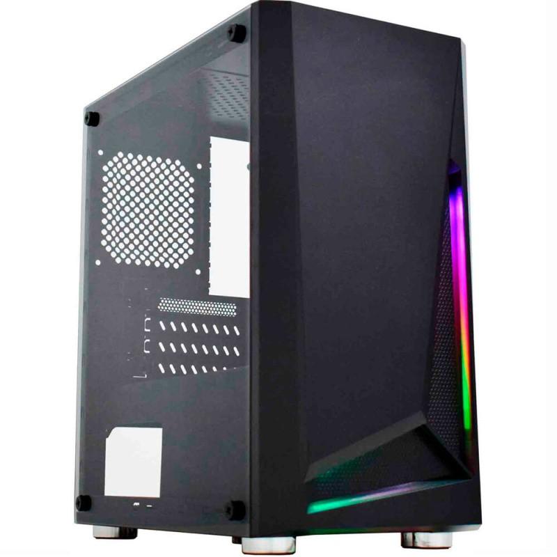 GABINETE GAMER K-MEX HAWK II CG-01KT FRONTAL FITA DE LED RGB USB 2.0 sem fonte