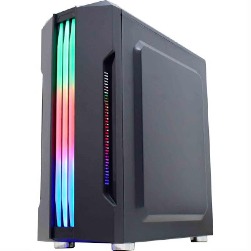 GABINETE GAMER MICRO ATX/ ATX/ ITX SEM FONTE BIFROST CG-02QI PRETO/BARRA LED RGB K-MEX