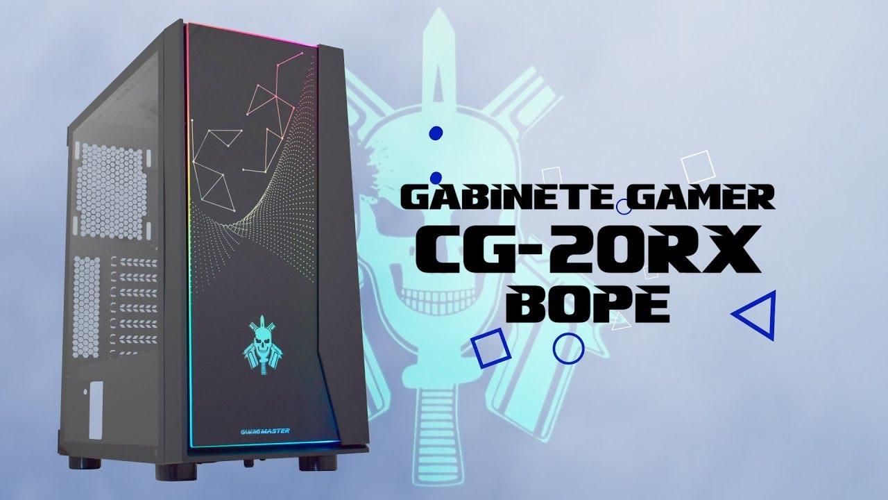 GABINETE GAMING BOPE PRETO LED RGB RAINBOW CG-20RX K-MEX