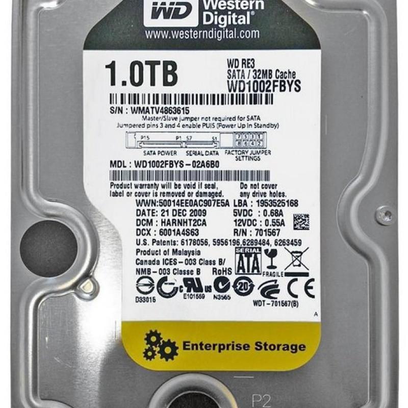 HARD DISK 1TB SATA2 7200RPM WESTERN DIGITAL - PN WD1002FBYS