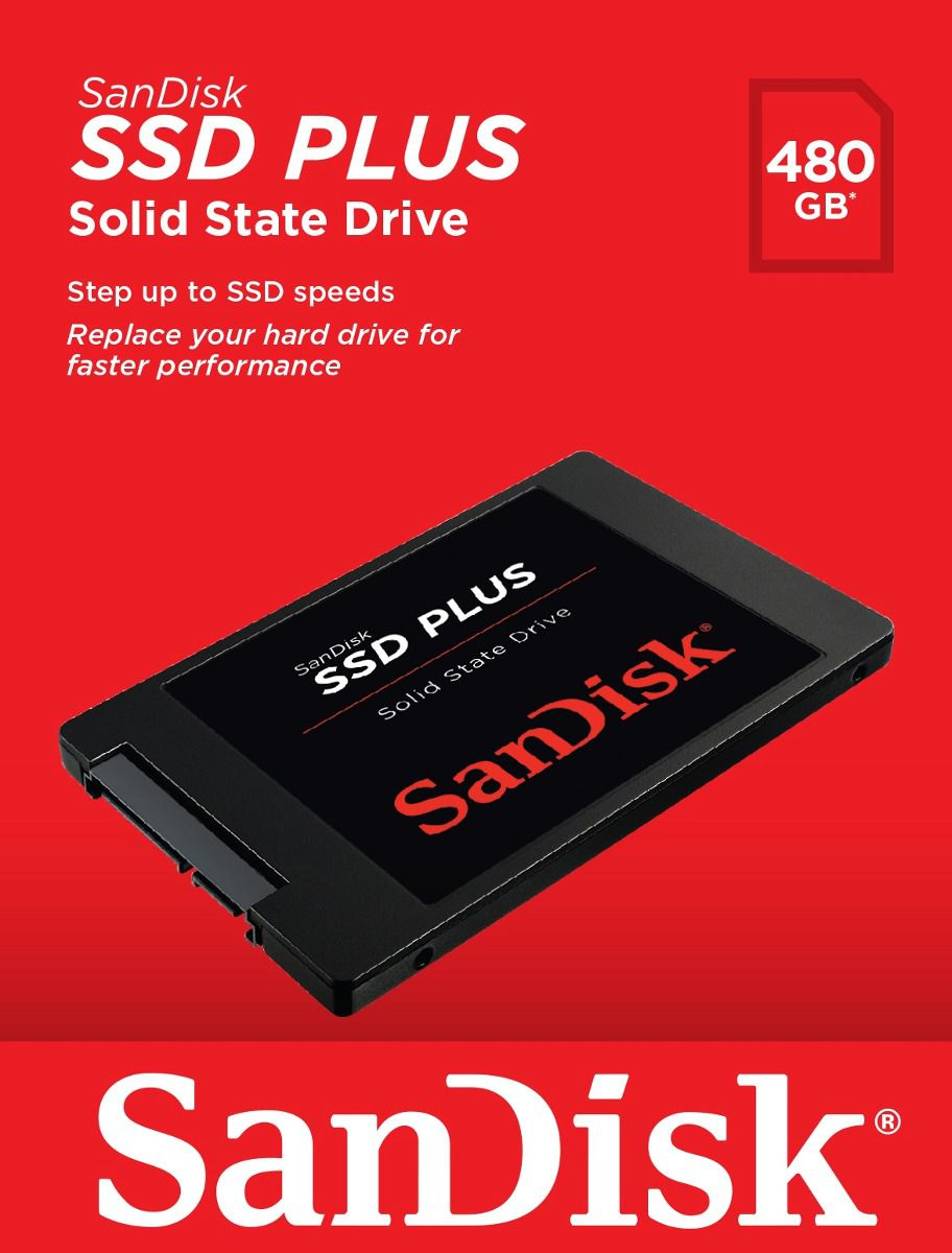 HD 480GB SSD SATA 3 (6Gb/s) Sandisk Plus SDSSDA-480G, 2.5?, 7 mm