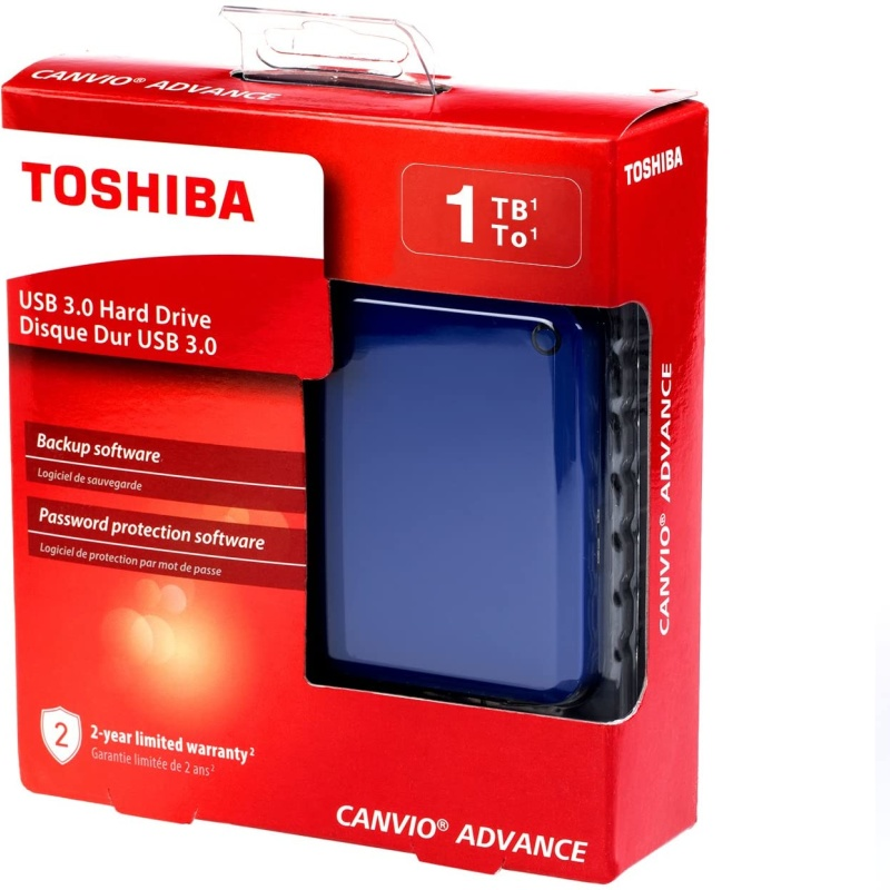 HD Externo Portátil Toshiba Canvio Advance 1TB Azul USB 3.0 - HDTC910XL3AA