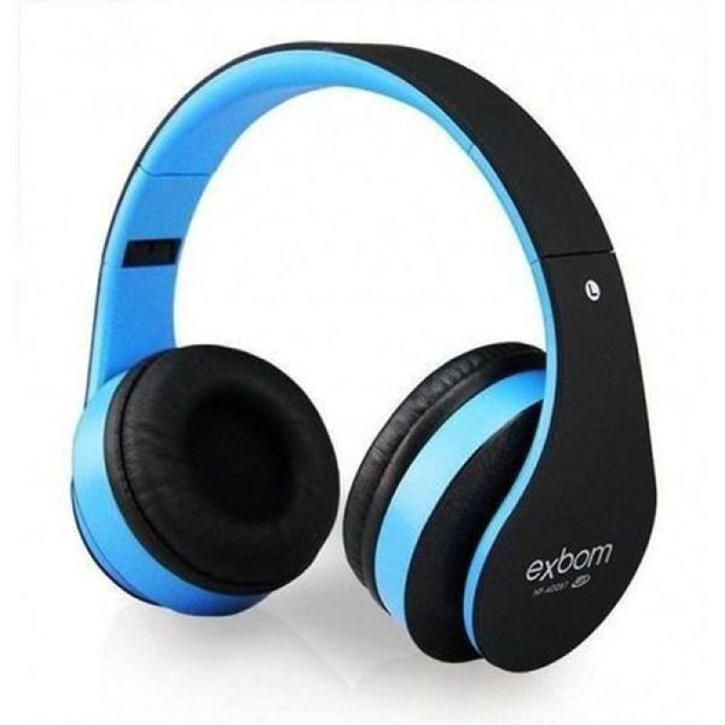 HEADFONE BLUETOOTH FM E CARTAO SD PORTATIL DOBRAVEL SUPER BASS EXBOM HF-400BT AZUL/PRETO