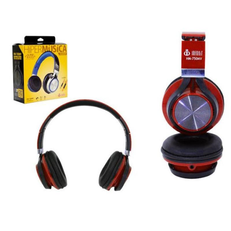 HEADFONE COM MICROFONE PARA COMPUTADOR E SMARTPHONE INFOKIT HM-750MV VERMELHO PS4 E XBOX ONE
