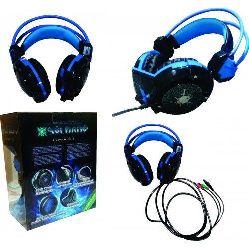 HEADFONE GAMER AZUL COM MICROFONE LUZ LED COLORIDO CABO REFORCADA REVESTIDO SILICONE INFOKIT GH-X30