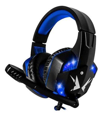 HEADFONE GAMER azul P2 + USB COM MICROFONE LED ILUMINACAO E CONTROLE DE VOLUME EXBOM HF-G600