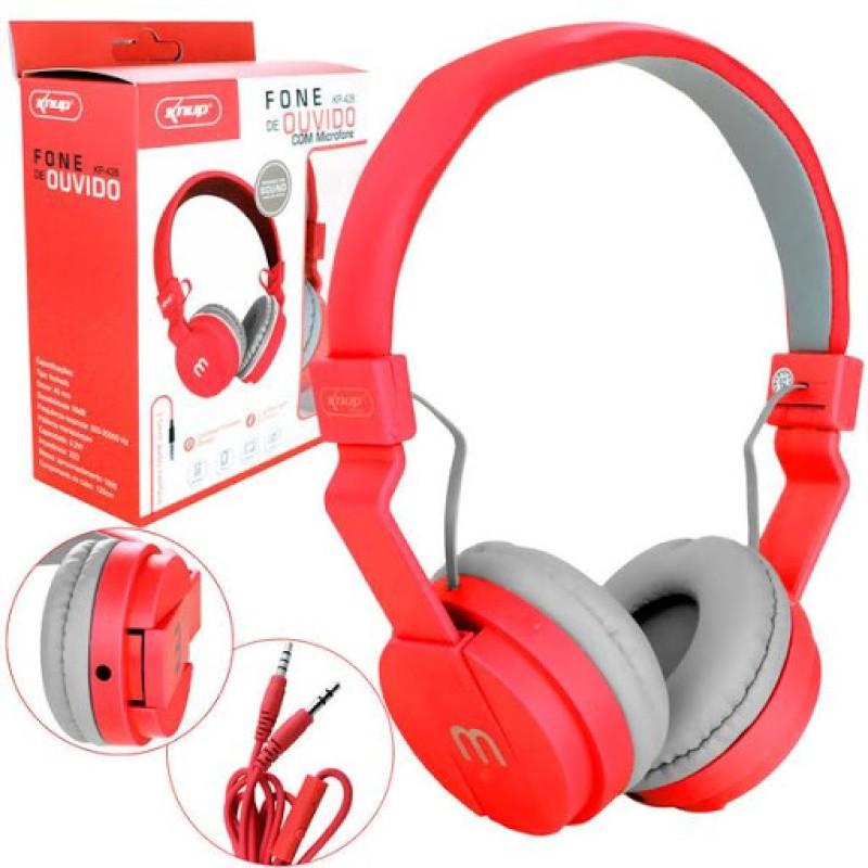 Headfone Gamer Cabo Removível 1,2m E Microfone KP-428 Knup Vermelho