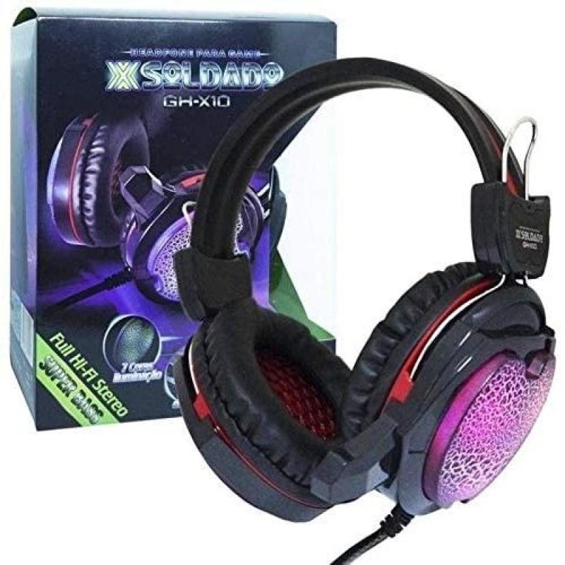 HEADFONE GAMER COM MICROFONE LUZ LED COLORIDO CABO REFORCADO REVESTIDO EM MALHA INFOKIT GH-X10