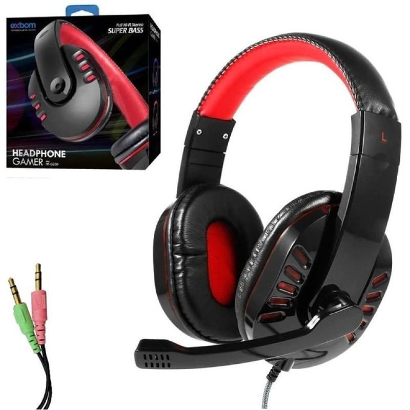 HEADFONE GAMER P2 COM MICROFONE E CONTROLE DE VOLUME EXBOM HF-G230 Vermelho