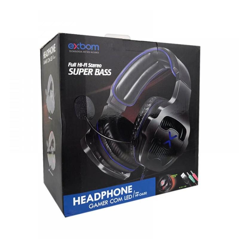 HEADFONE GAMER USB 7.1 AZUL SURROUND DRIVE COM MICROFONE 360 LED ILUMINACAO E CONTROLE DE VOLUME EXBOM HF-G650 #MEGAPROMO