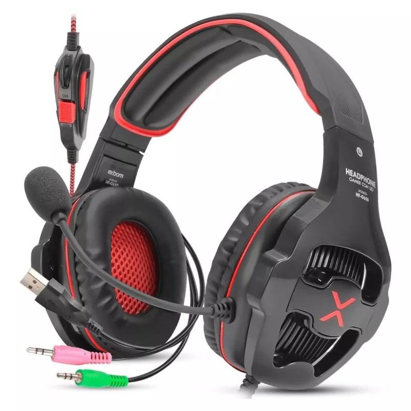 HEADFONE GAMER USB 7.1 VERMELHO SURROUND DRIVE COM MICROFONE 360 LED ILUMINACAO E CONTROLE DE VOLUME EXBOM HF-G650 #MEGAPROMO