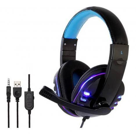 HEADFONE GAMER USB PARA PS4 XBOX ONE COM MICROFONE LED COLORIDO E CABO REFORÇADO EXBOM HF-G310P4 AZUL